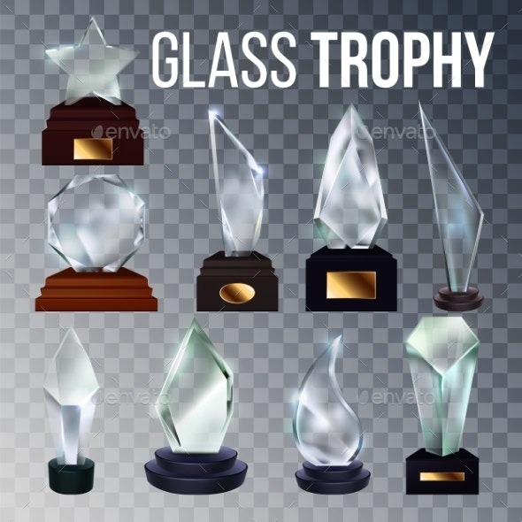 Different Form Collection Glass Trophy Set Vector - Sports/Activity Conceptual