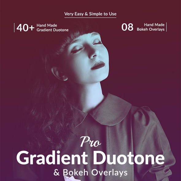 Pro Gradient Duotone & Bokeh Overlays Action