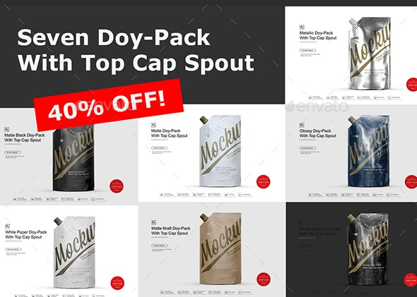 Doy-Pack With Top Cap Spout / Seven Types of Packaging Material - Product Mock-Ups Graphics