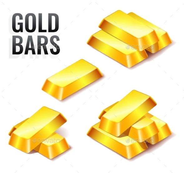 Set of Gold Bars Icons - Miscellaneous Vectors