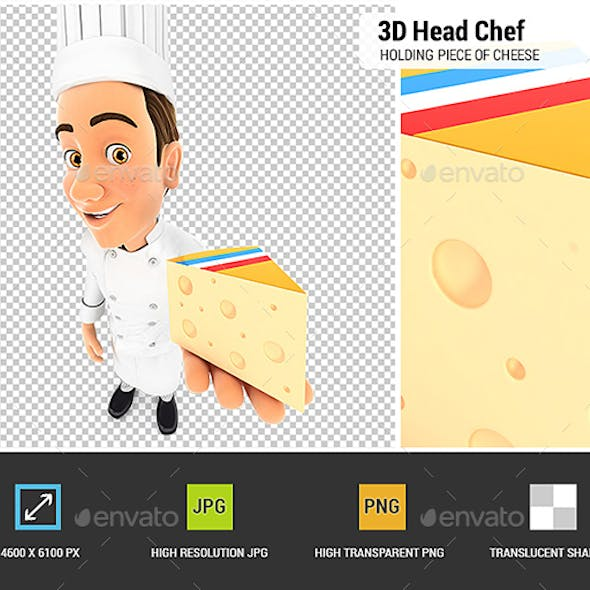 3D Head Chef Holding Piece of Cheese