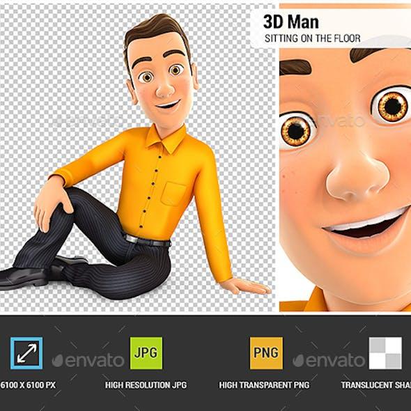 3D Man Sitting on the Floor
