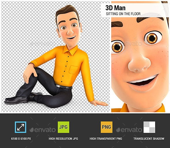 3D Man Sitting on the Floor - Characters 3D Renders
