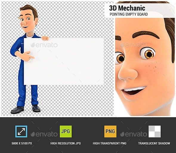 3D Mechanic Pointing Empty Board - Characters 3D Renders