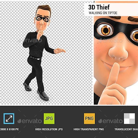 3D Thief Walking on Tiptoe