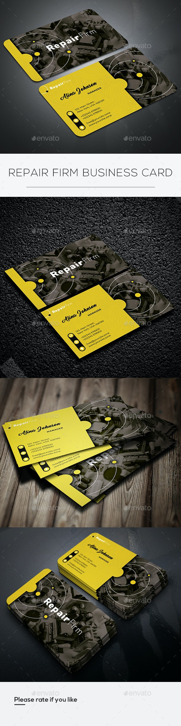 Repair Firm Business Card - Business Cards Print Templates