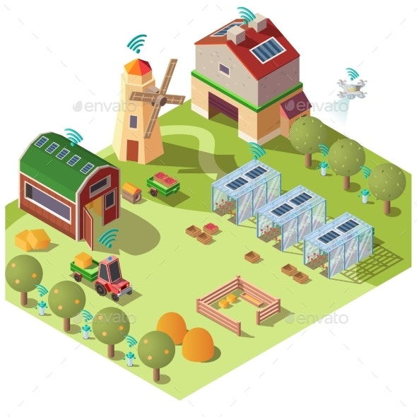 Smart Ecological Farming Isometric Vector Concept - Industries Business