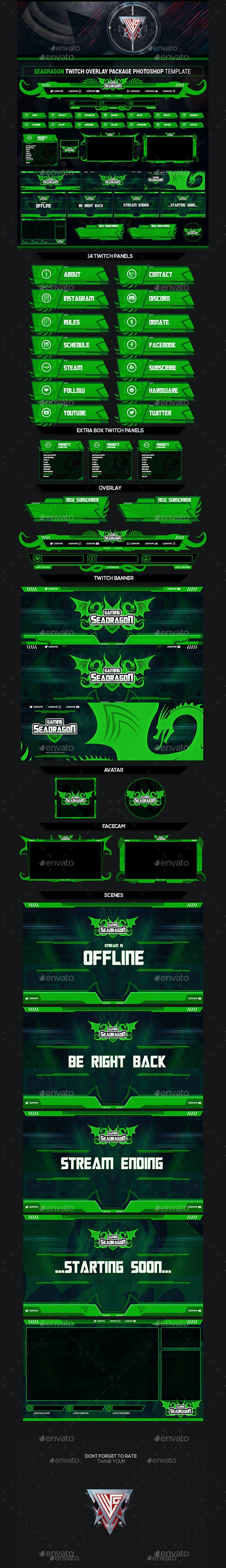 Sea Dragon Twitch Overlay Photoshop Template by MCGRAPHICS