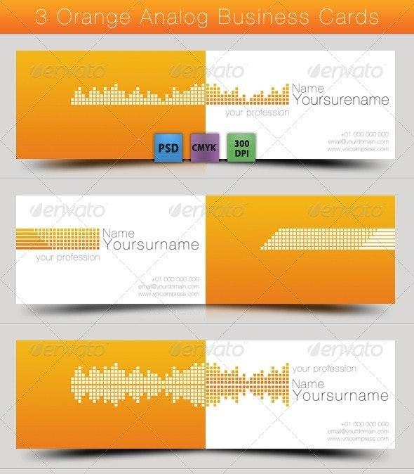 3 Orange Analog Business Card - Creative Business Cards