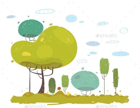Cartoon Rustic Garden, Field in Forest, Park Scene - Nature Conceptual