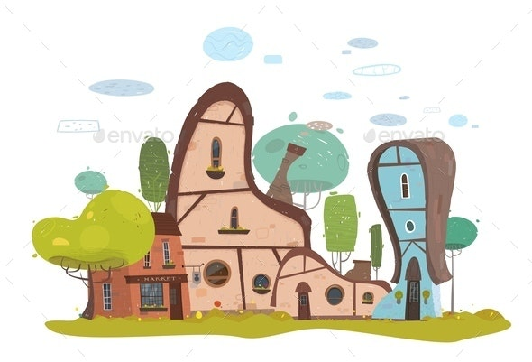 House and Market Exterior Buildings in Suburb - Miscellaneous Vectors