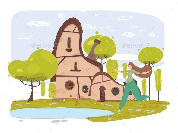 Happy Woman in Traditional Clothes in Yard Cartoon - Buildings Objects