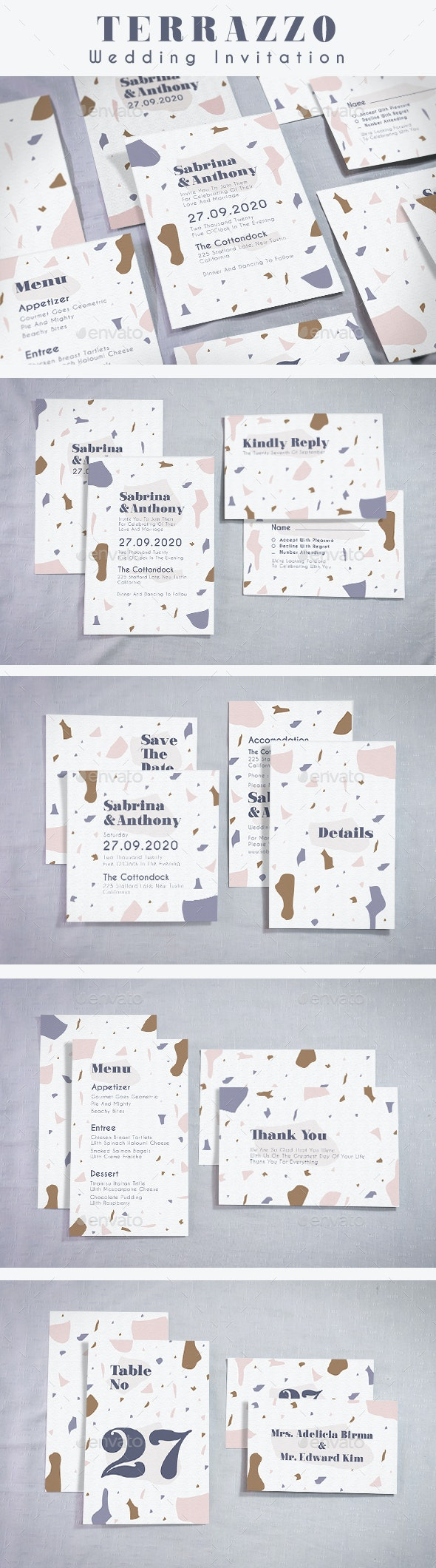 Terrazzo Wedding Invitation - Weddings Cards & Invites