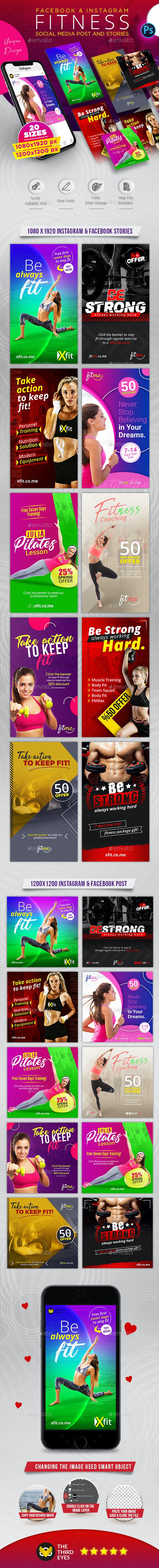 Fitness Post & Stories Pack - Social Media Web Elements
