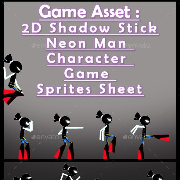 Game Asset : 2D Shadow Stick Neon Man  Character  Game  Sprites Sheet