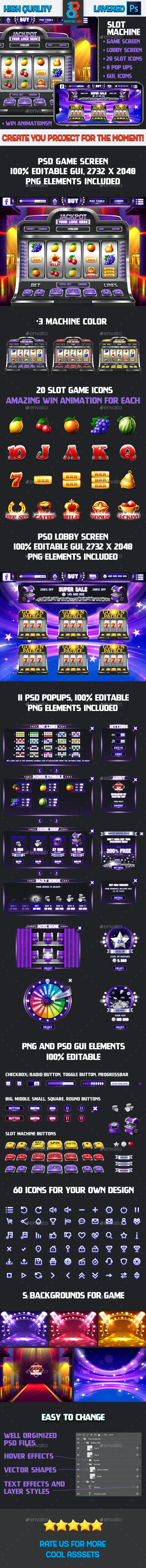Full Realistic Slot Machine Game - Game Kits Game Assets