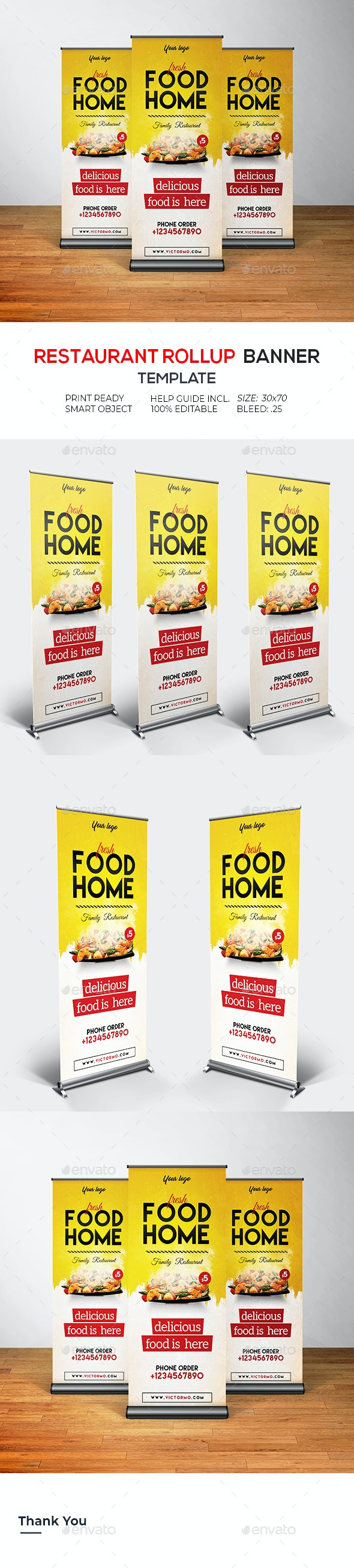 Restaurant Rollup Banner - Signage Print Templates