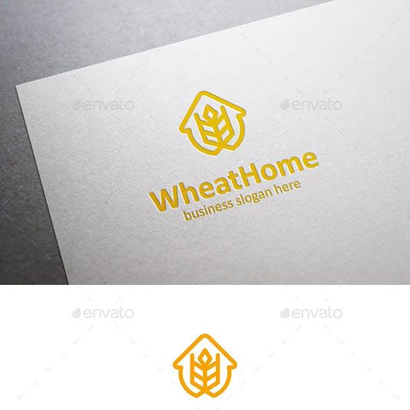 Wheat Home Logo House and Grain Symbol