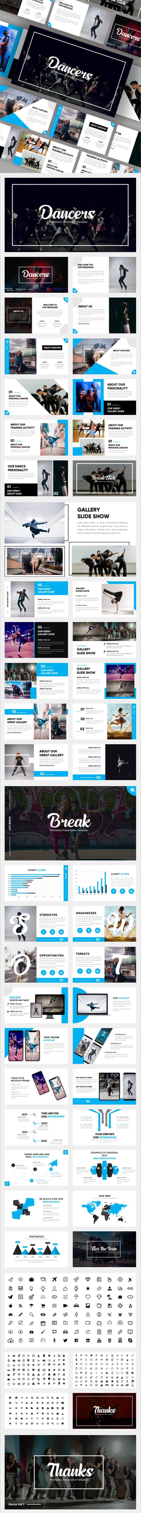 Dancers - Minimalism Dance Powerpoint Template - Miscellaneous PowerPoint Templates