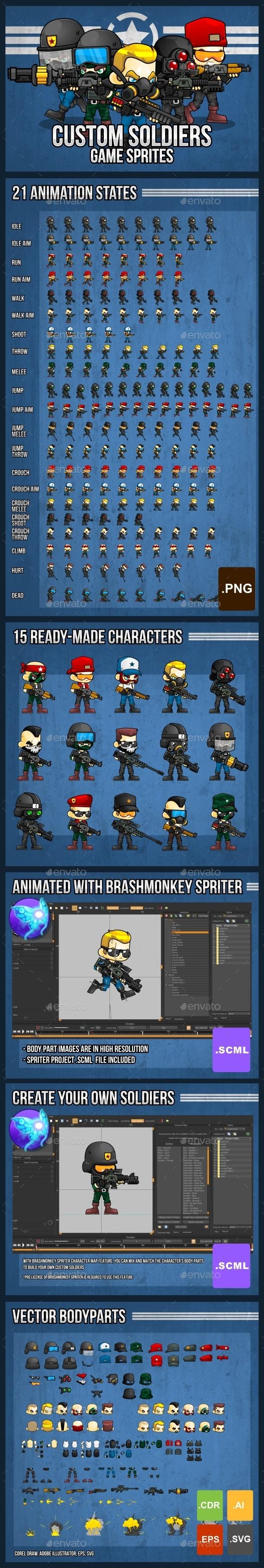 Custom Soldiers - Game Sprites - Sprites Game Assets