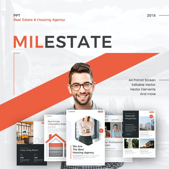 Milestate Portrait Real Estate PowerPoint Template