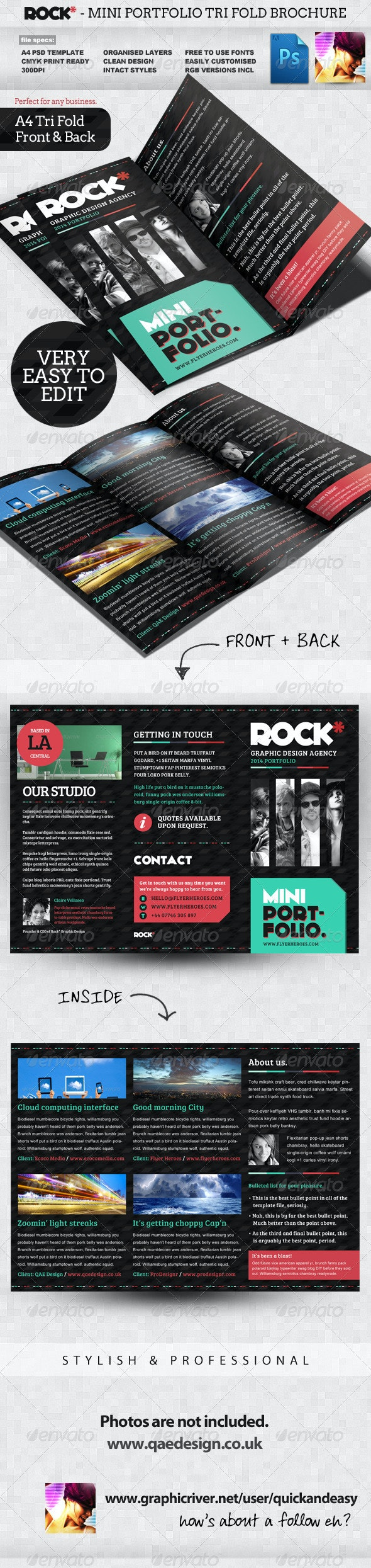 Rock* Tri-fold Portfolio Template - Portfolio Brochures