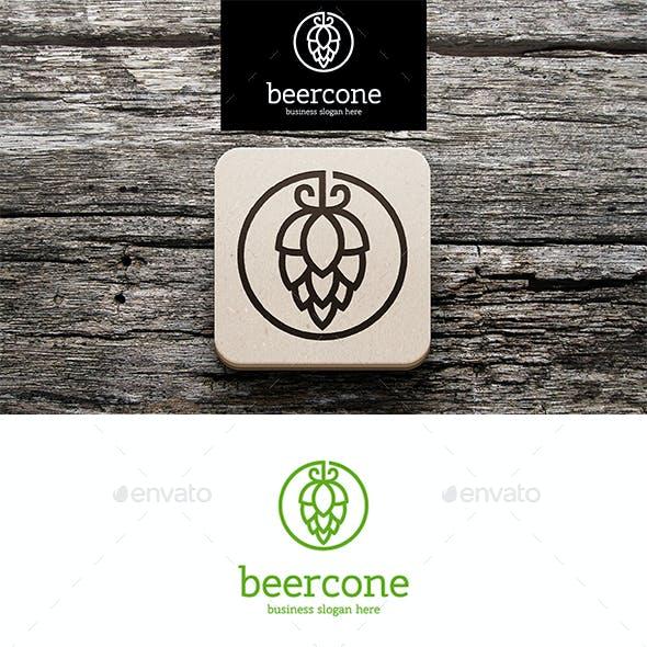 Beer Hop Cone Logo Outline