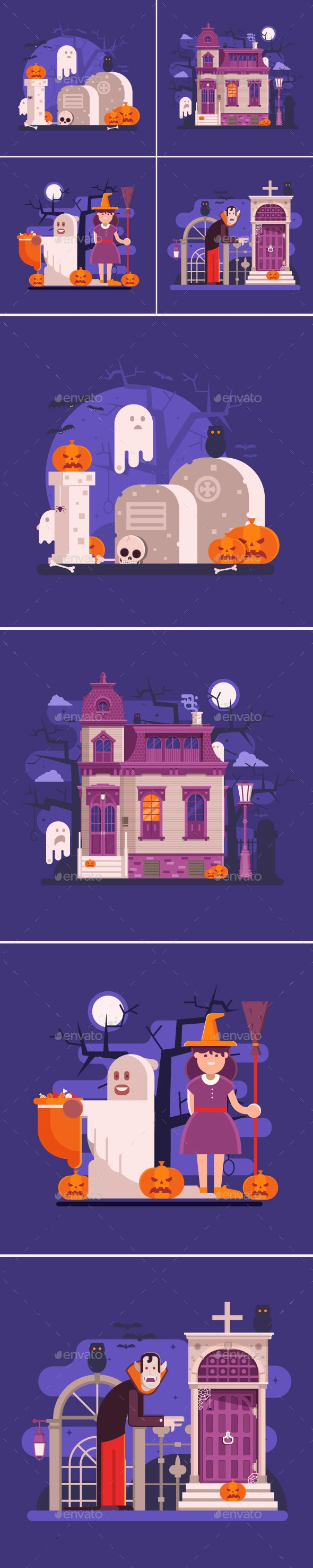 Halloween Night Banners with Scary Scenes - Halloween Seasons/Holidays