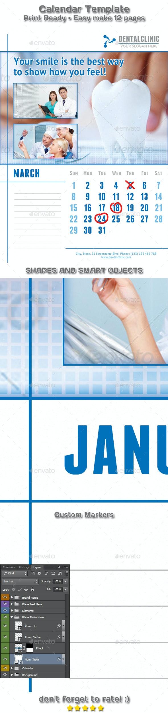 Medical or Dental Clinic Calendar 2019 - 2020 Template - Calendars Stationery