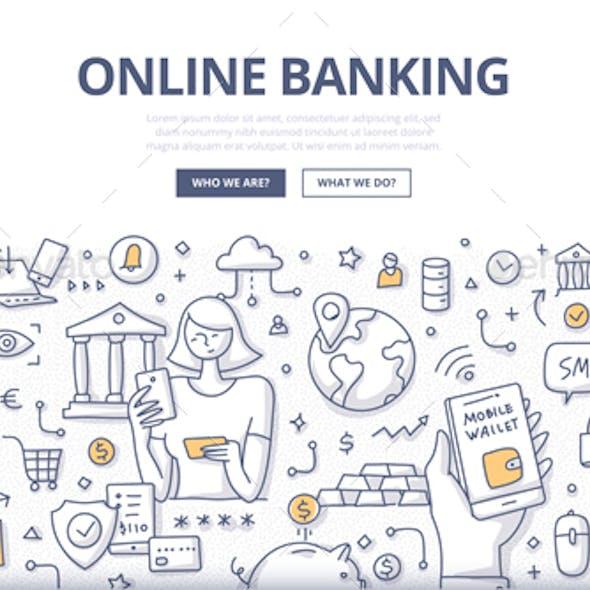 Online Banking Doodle Concept