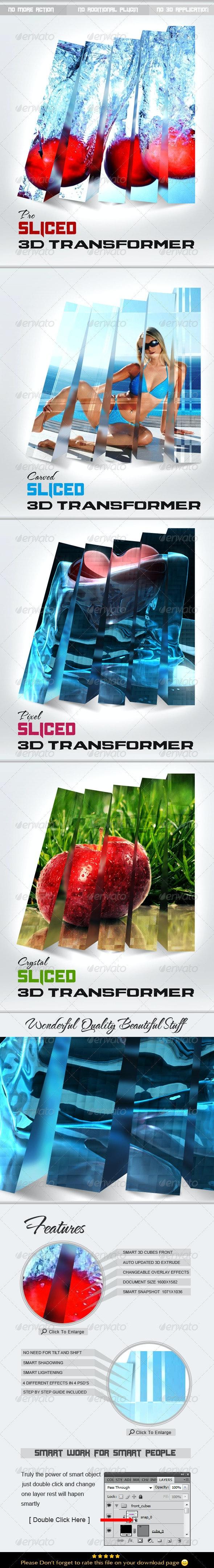 Sliced 3D Transformer - Tech / Futuristic Photo Templates