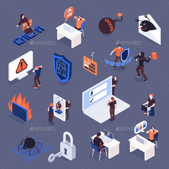 Cyber Security Isometric Icons Set - Web Technology