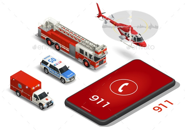 Emergency Service Isometric Icons Set - Miscellaneous Vectors