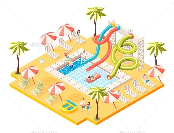 Aquapark Isometric Concept - Sports/Activity Conceptual