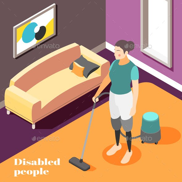 Disabled People Isometric Background