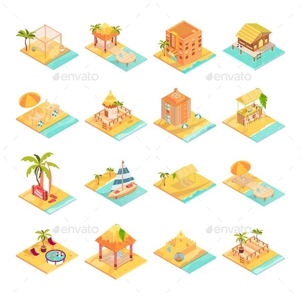 Tropical Rest Icons Set - Buildings Objects