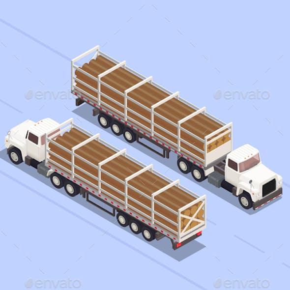 Trailers Isometric Illustration