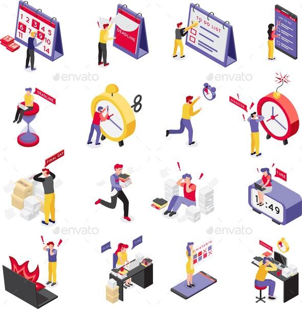 Deadline Isometric Icon Set - People Characters