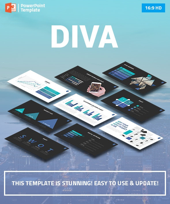 DIVA - Marketing PowerPoint Pitch Deck - Business PowerPoint Templates