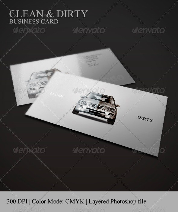 Clean & Dirty Business Card | Car Polish - Industry Specific Business Cards