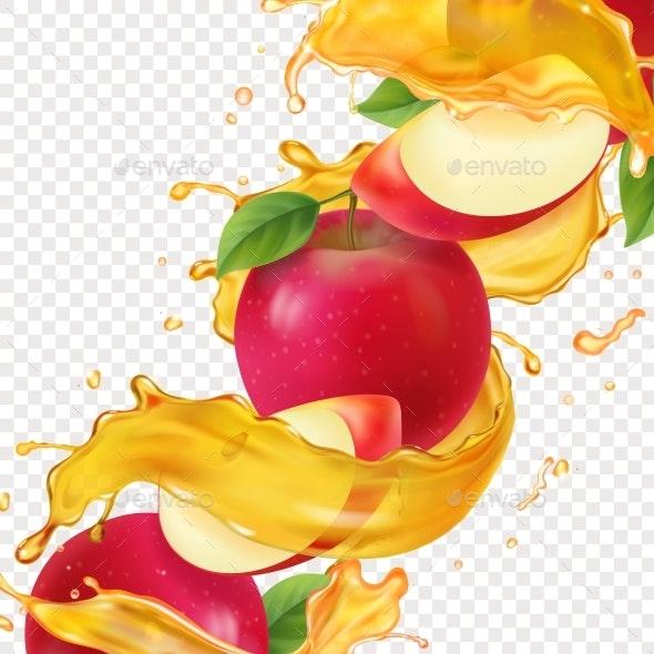 Apple Fresh Juice Realistic Illustration - Food Objects