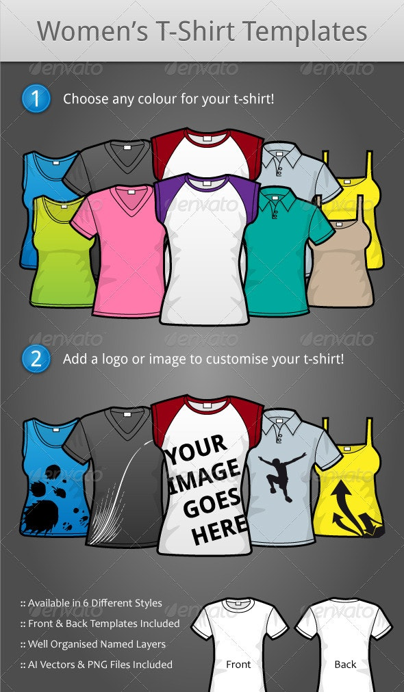 Female T-Shirt Templates - Commercial / Shopping Conceptual
