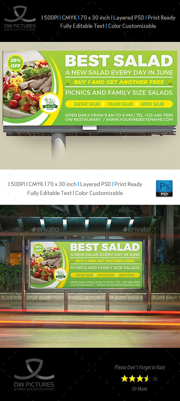 Salad Restaurant Billboard Template Vol.2 - Signage Print Templates