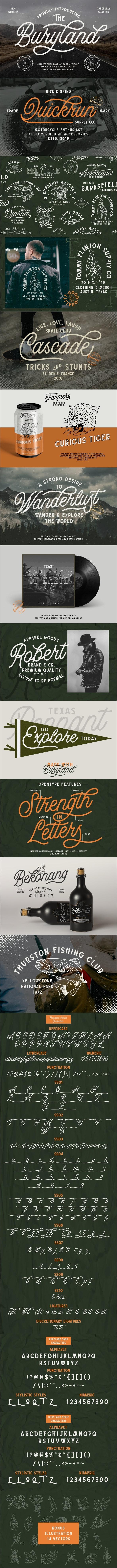 Buryland Typeface Collection - 9 Fonts - Fonts