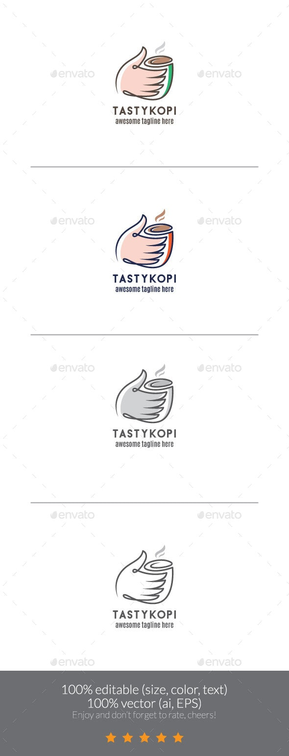 Delicious & Tasty Coffee Logo - Food Logo Templates