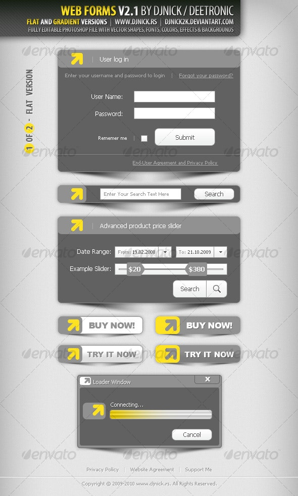 Web Forms 3 - Grayscale and Gradiental - Miscellaneous Web Elements