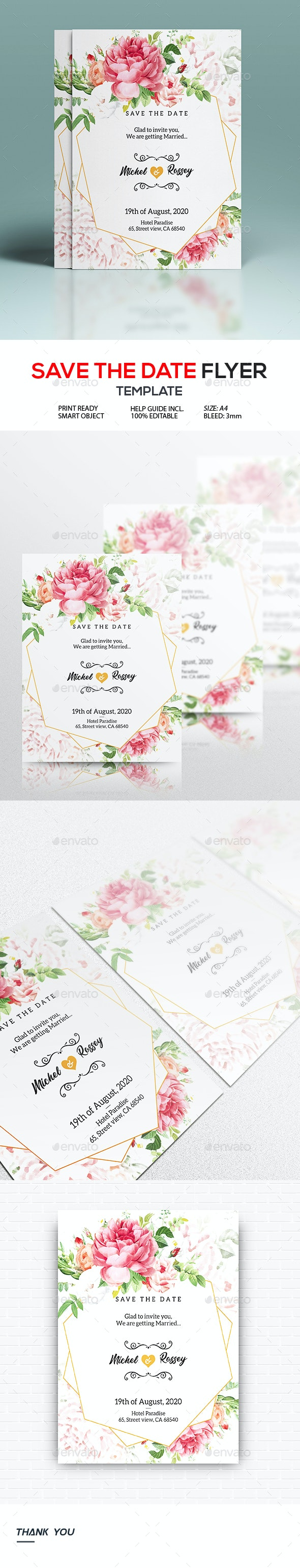 Wedding Invitation and Save The Date Flyer - Wedding Greeting Cards