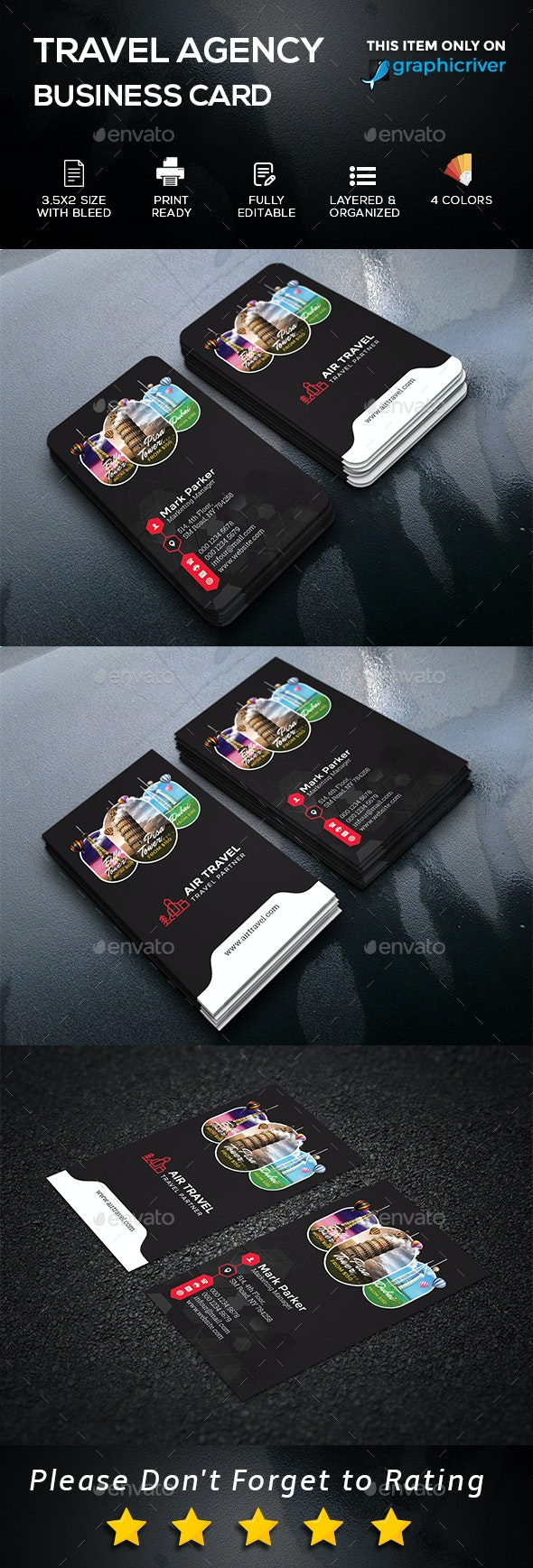 Travel Agency Business Card - Business Cards Print Templates