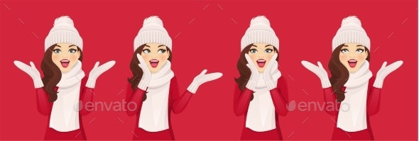 Surprised Woman in Knitted Hat - People Characters