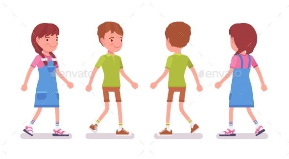 Boy and Girl Child 7 To 9 Years Old Walking - People Characters